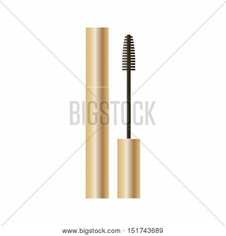 Mascara packaging gold design isolated on white background