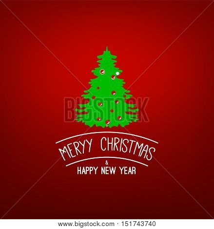 Green X-mas Tree. Merry Christmas and Happy New Year. Vector greeting card.