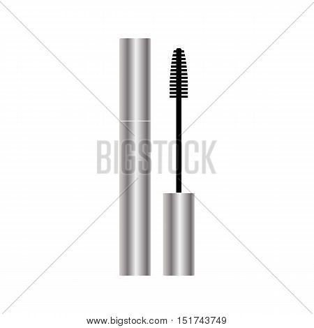 Mascara packaging silver design isolated on white background