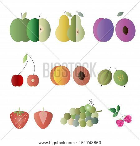 Flat Design Isolated Fruit Vector Icon Set. Colorful fruits in two versions - full and cut in half