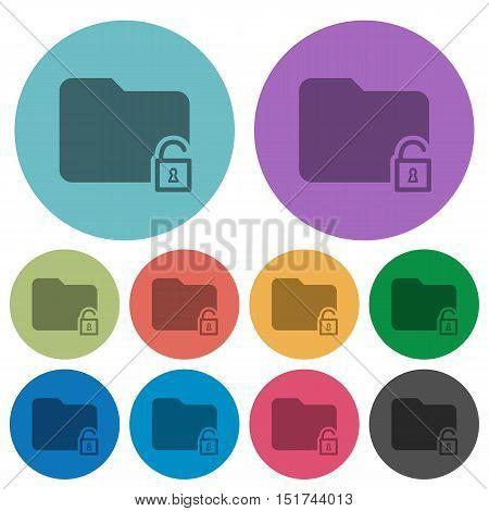 Color unlock folder flat icon set on round background.
