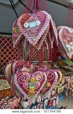 "Gingerbread hearts that guys pay girls. At one because it says ""I love you""."