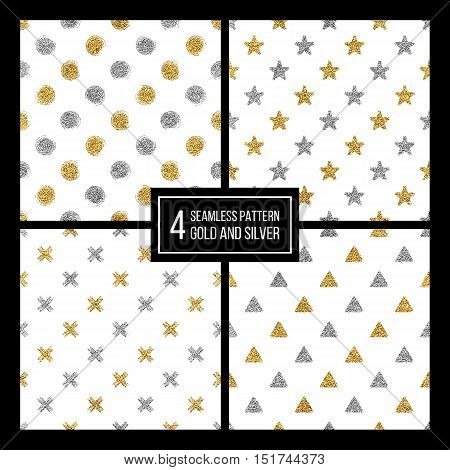 Set of seamless pattern gold and silver polka dots, triangle, star, cross, hand drawn pattern of golden silvern circle, delta, plus, vector design for paper, card, invitation, wrapping, textile, web