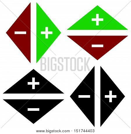 Arrows In Opposite Directions. Symbol Of Arrows In Pairs With Plus, Minus Marks