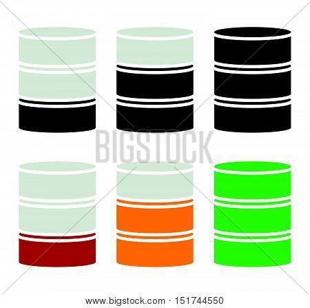 Barrel Shape Silhouette. Simple 3D Barrel Icon.