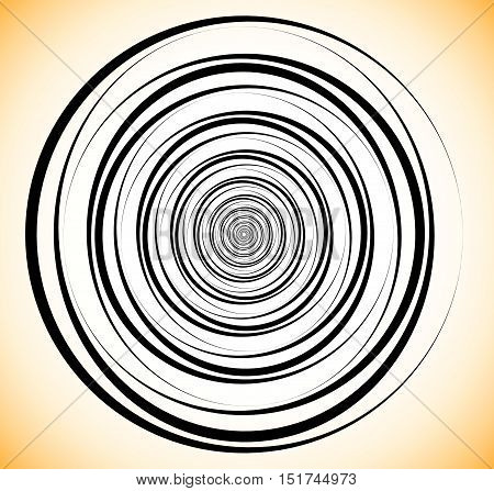 Random Concentric Circles. Abstract Geometric Spiral, Swirl Element.