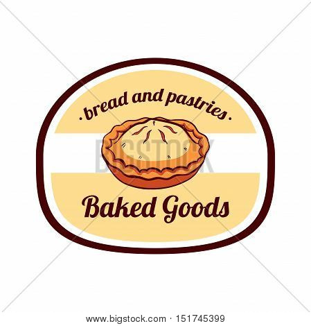 Sticker with hand drawn meat pie isolated on white background. Can be used for design of bakery or breadshop. Vector illustration