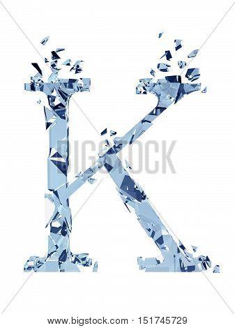 3D illustration  isolated broken glass capital letter K