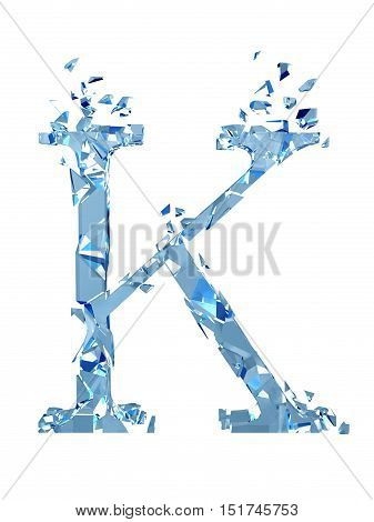3D illustration  isolated broken glass capital letter K