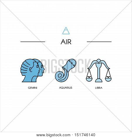 Zodiac symbols. Vector line style pictograms isolated on background.