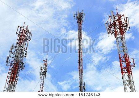 Telecommunication tower against blue sky background, technology background