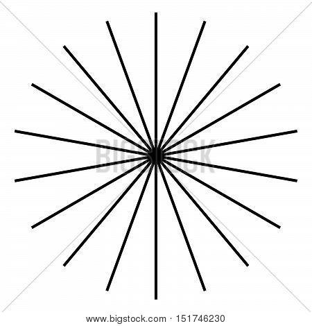 Radiating, Radial Lines. Starburst, Sunburst Shape. Ray, Beam Lines Merging, Intersecting At Center.