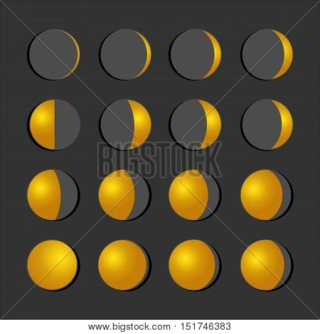 Moon phases icon night space astronomy and nature moon phases sphere shadow. The whole cycle from new moon to full moon. Gibbous icon vector