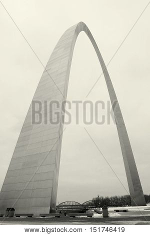 Gateway Arch in St. Louis , Missouri in black and white