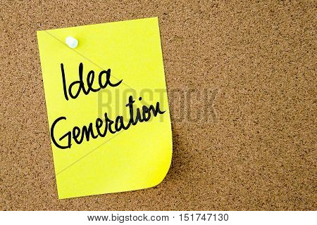 Idea Generation Text Written On Yellow Paper Note