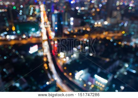 Aerial view blurred lights city road intersection night view