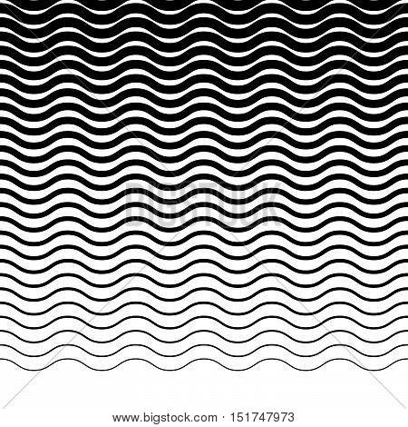 Parallel Wavy-zigzag Horizontal Lines - Horizontally Repeatable Geometric Pattern