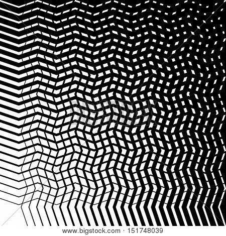 Grid Mesh Of Irregular Jagged, Wavy Lines. Abstract Monochrome Texture / Patern
