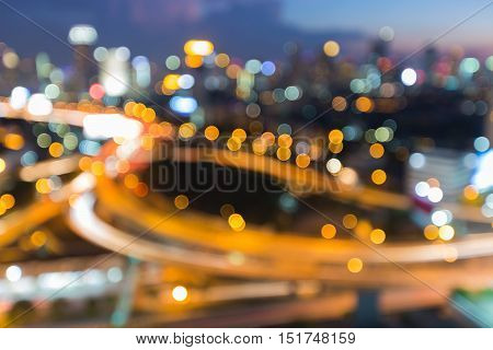 Night lights blurred city highway interchanged, abstract background