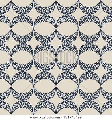 Seamless islam pattern. Vintage floral background. Vector islamic royal blue pattern. Oriental design and baroque wallpaper