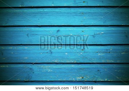 old wooden boards bright blue color texture and background