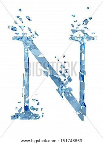 3D illustration  isolated broken glass capital letter N