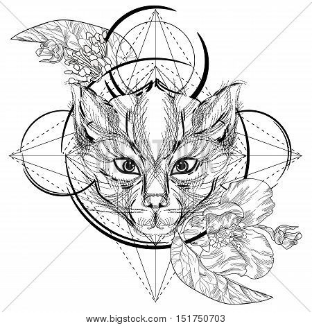 Animal head triangular icon , geometric trendy line design. Illustration ready for tattoo or adult relax anti stress coloring book. Cat head low-poly sketch hand drawn