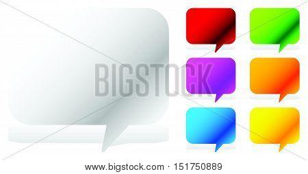 White And Six Vivid Color Speech, Talk Bubbles