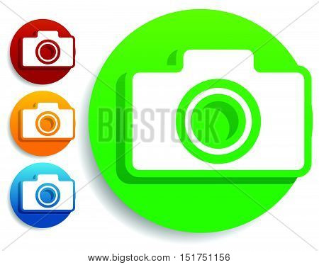 Compact - Hobby Photo Camera Icon In Green, Red, Yellow, Blue Colors