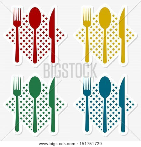 Restaurant design, fork spoon knife sticker set