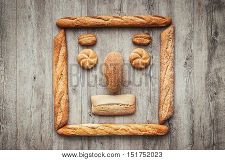 Funny Face Composed Of Bread