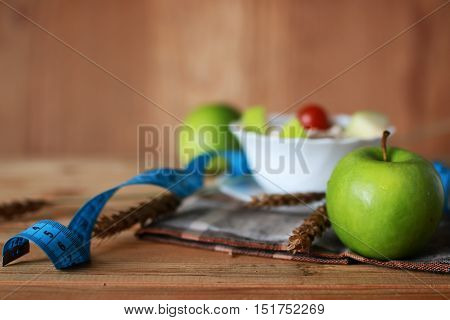 Breakfast diet fruit apple centimeter concept healthcare