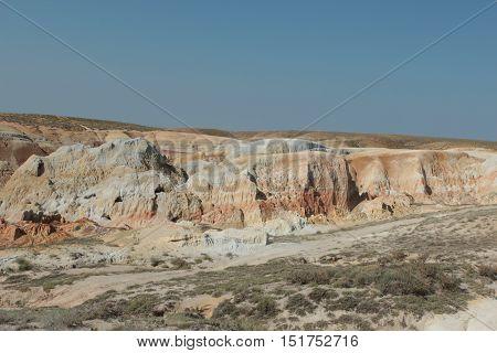 colored clay, clay, colorful, landscape, clay landscape, the views, the coast of Shekelmes, lake Zaysan, Kazakhstan