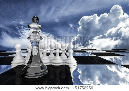 3D Rendering : illustration of chess pieces.the glass king chess at center with pawn chess in the back.put on chess board with sky background.leader concept.success concept business leader concept