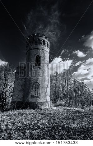 Guardian tower in forest in black and white