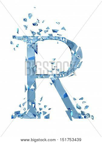 3D illustration  isolated broken glass capital letter R