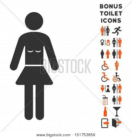 Lady icon and bonus gentleman and lady lavatory symbols. Vector illustration style is flat iconic bicolor symbols, orange and gray colors, white background.
