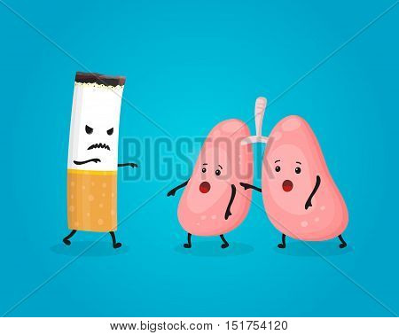 Smoking kill lungs. Stop smoking comcept. Cigarette kills. Vector flat cartoon character illustration