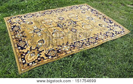 Old Persian rug on a green background