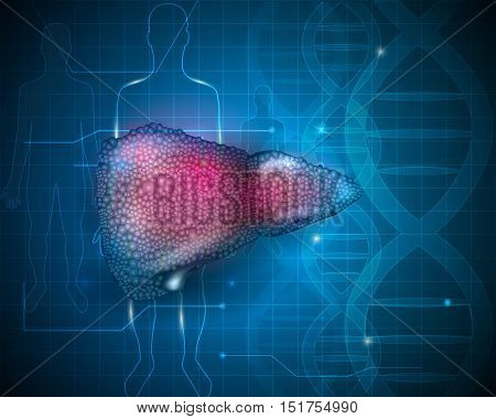 Cirrhosis Of The Liver Anatomy Illustration, Abstract Scientific Dna Background With Human Silhouett