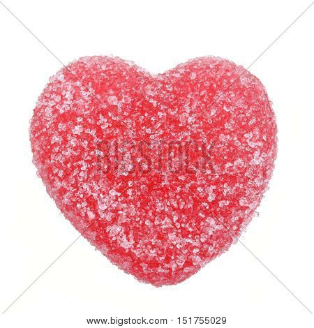 Oner jelly candy herat with strawberry flavor isolated on white.
