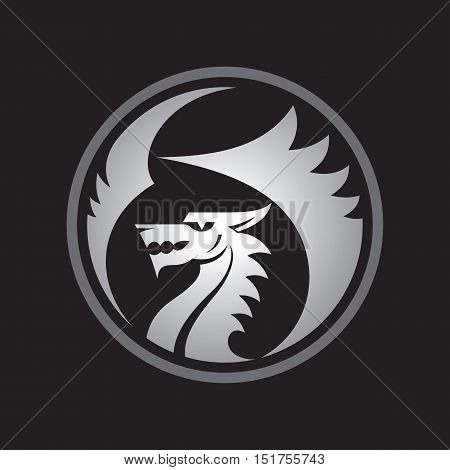 Dragon silhouette - vector logo template concept illustration. Ancient myphology predator creative sign. Monster with wings and mouth abstract badge symbol.