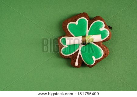 Clover shaped cookie baked for Saint Patrick Day celebration in Ireland