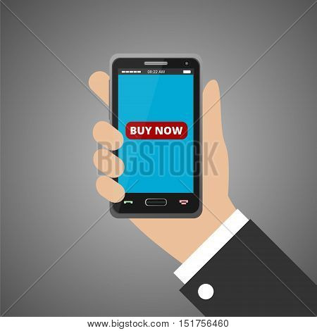 Hand holding smartphone with buy now icon