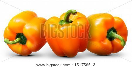 Group of orange pepper isolated on white background.