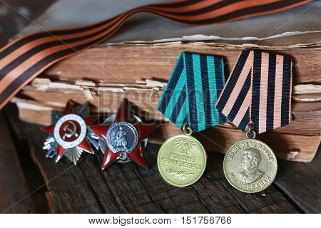 medals of the WWII composition on wood