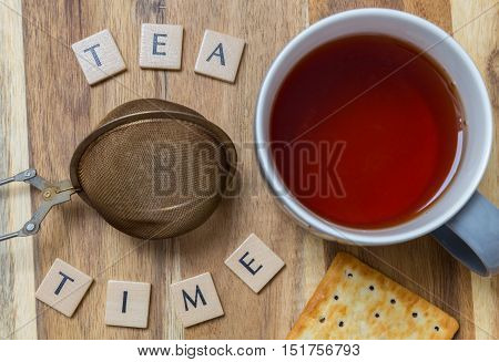 Tea time background on wood template picture