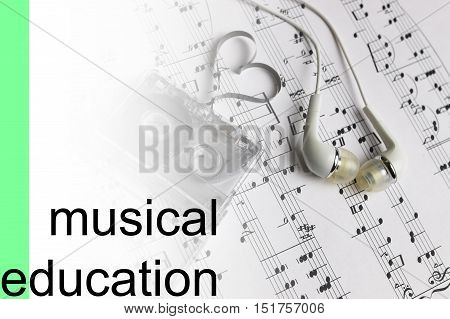 listen courses of music on notes background