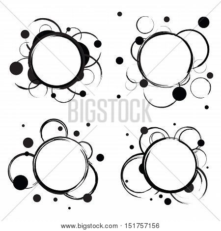 Badges with abstract circles isolated on white. One big circle in the center and some smaller rings around it. Set for discount promotions, infographics and web. Vector eps8 illustration.