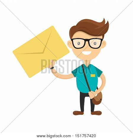 Young courier or postman delivered the letter. You have a letter concept. Vector flat cartoon character illustration isolated on white background